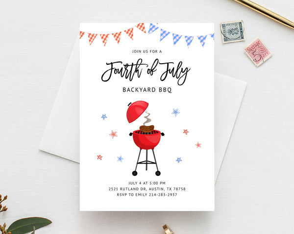 4th of July BBQ Party Invitation Template, Printable Independence Day Party Invitation, Editable Backyard BBQ Invite, Templett