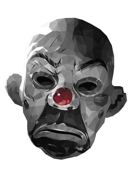 Oeuvre / illustration lowpoly du masque du joker dans The Dark Knight imprimé sur t-shirt