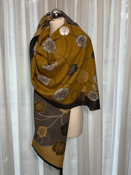Luxurious, reversible mustard and grey wrap/shawl