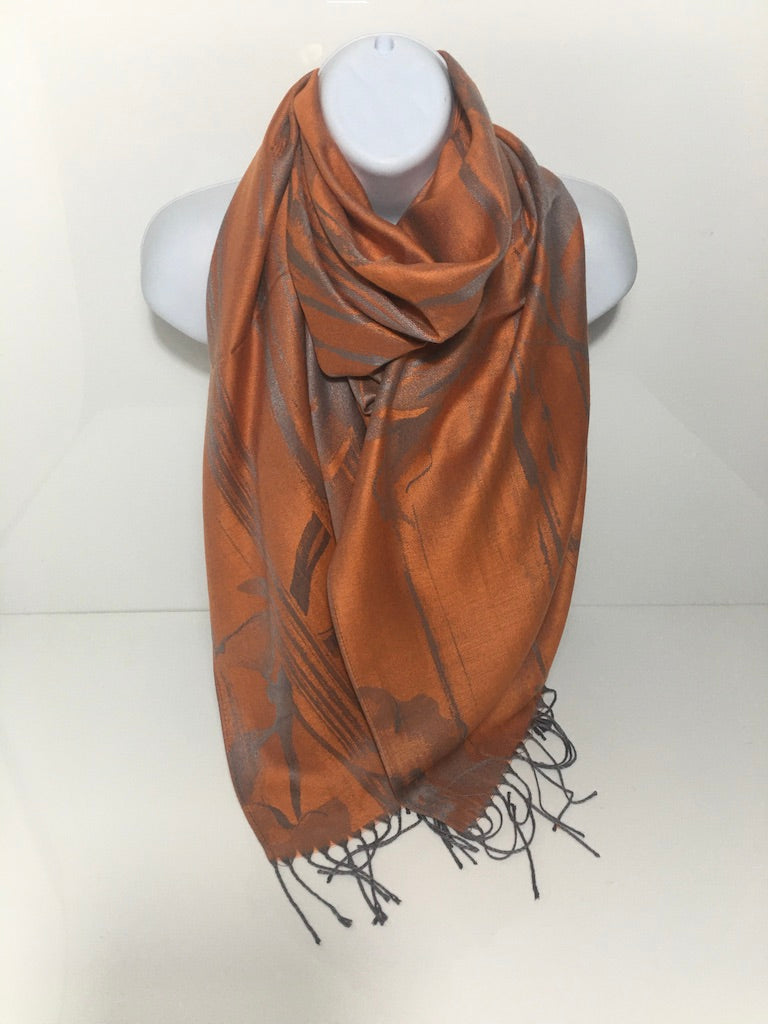 Orange and grey coloured pashmina scarf.