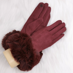 Burgundy Faux Fur Cuff Gloves