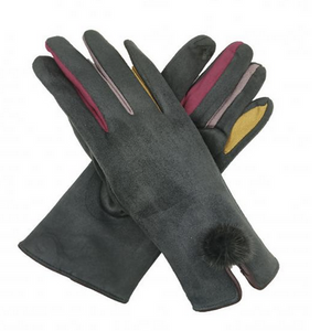 Grey Gloves with Coloured Fingers