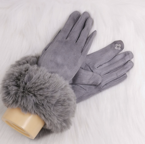 Grey Faux Fur Cuff Gloves