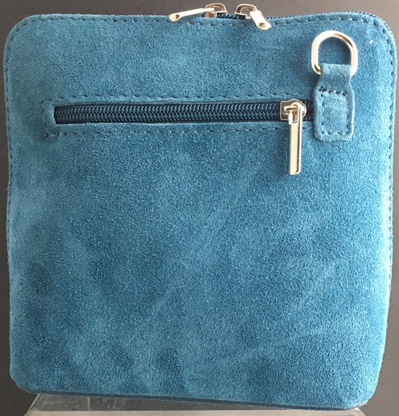 Suede cross-body bag in aqua