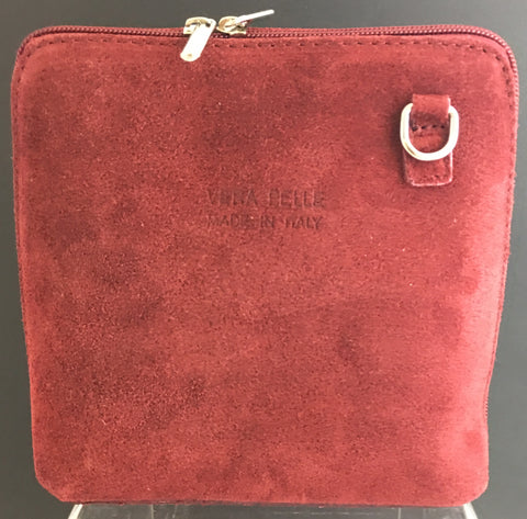 Suede cross-body bag in red