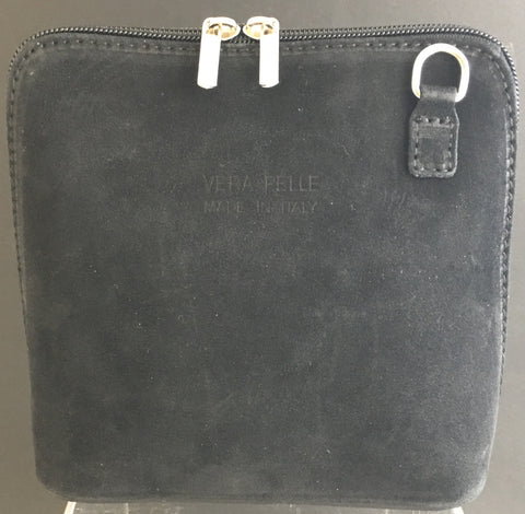 Suede cross-body bag in grey