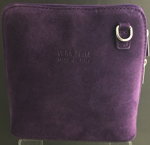 Suede cross-body bag in purple