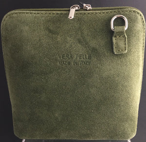 Suede cross-body bag in dark green