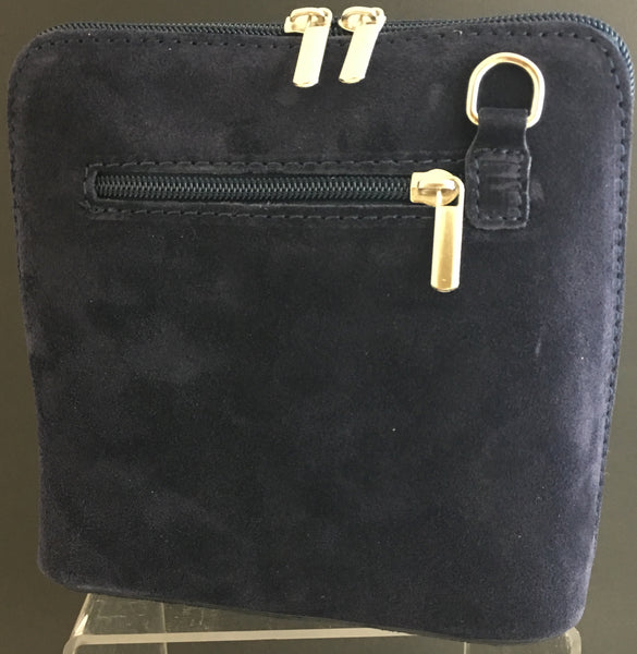 Suede cross-body bag in navy