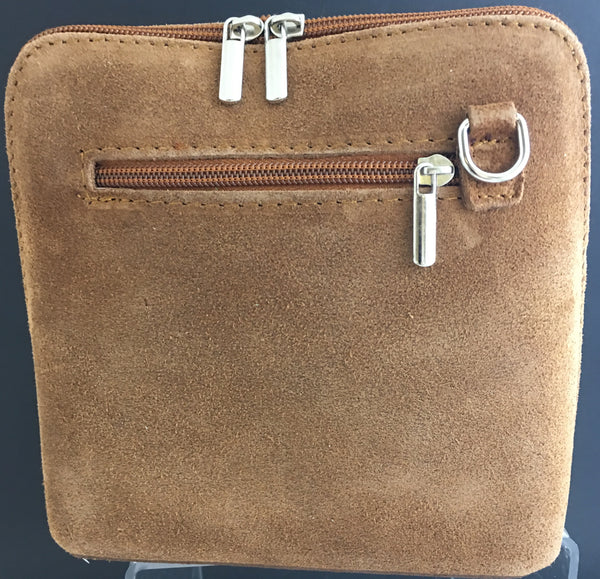 Suede cross-body bag in tan