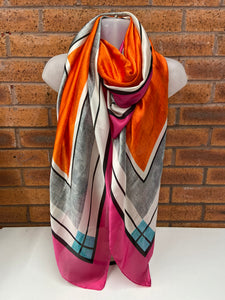 Silk-Mix Orange, White & Fuchsia Scarf