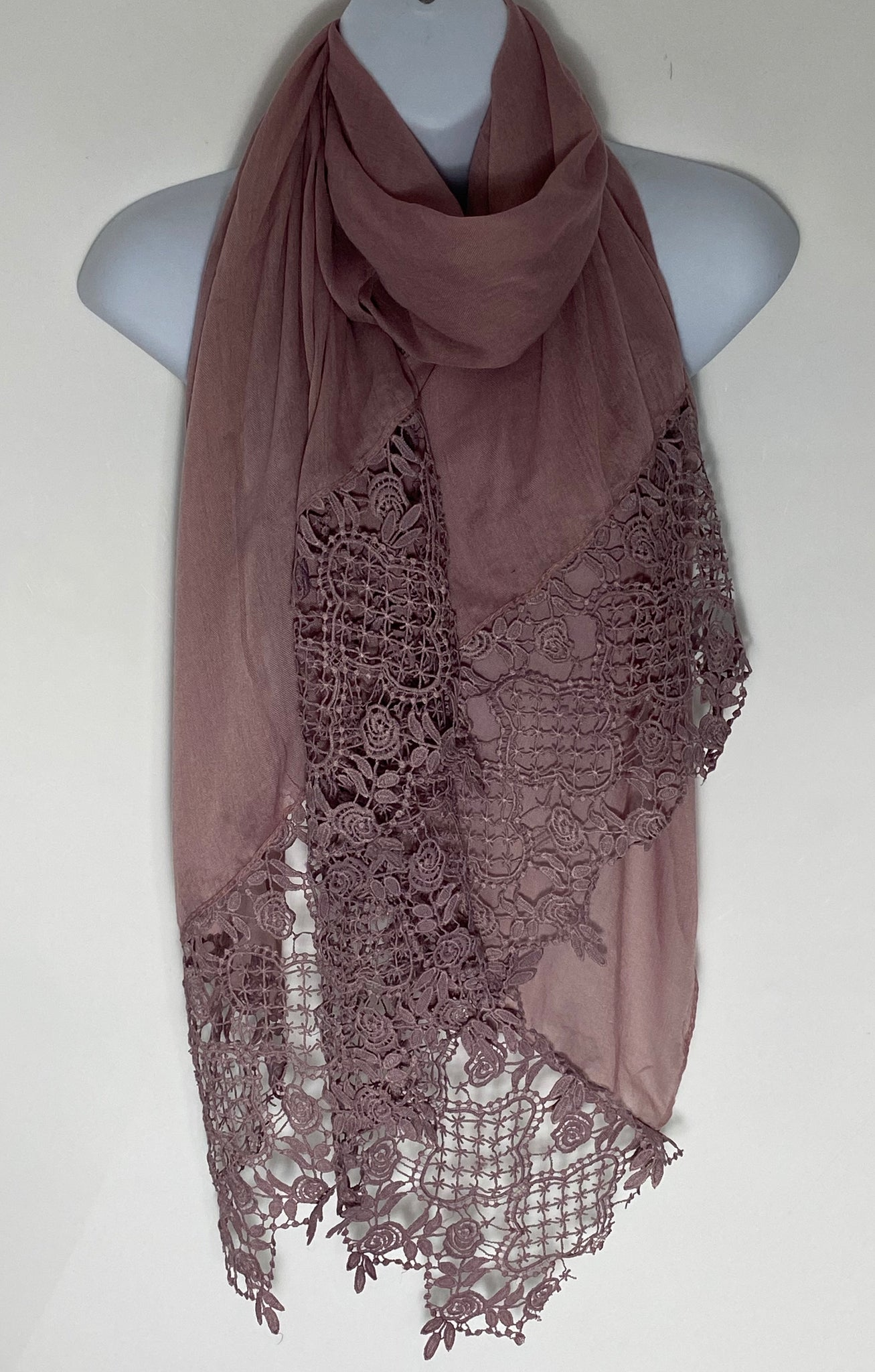 Pink Lace deep edge scarf