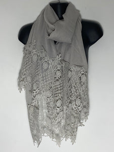 Grey lace deep edge scarf