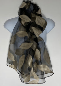 Silk mix embroidered voile scarf in black/gold