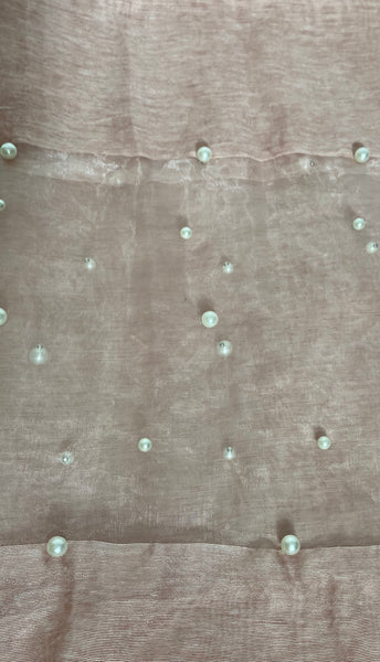 Silk mix voile and pearl scarf in Pink
