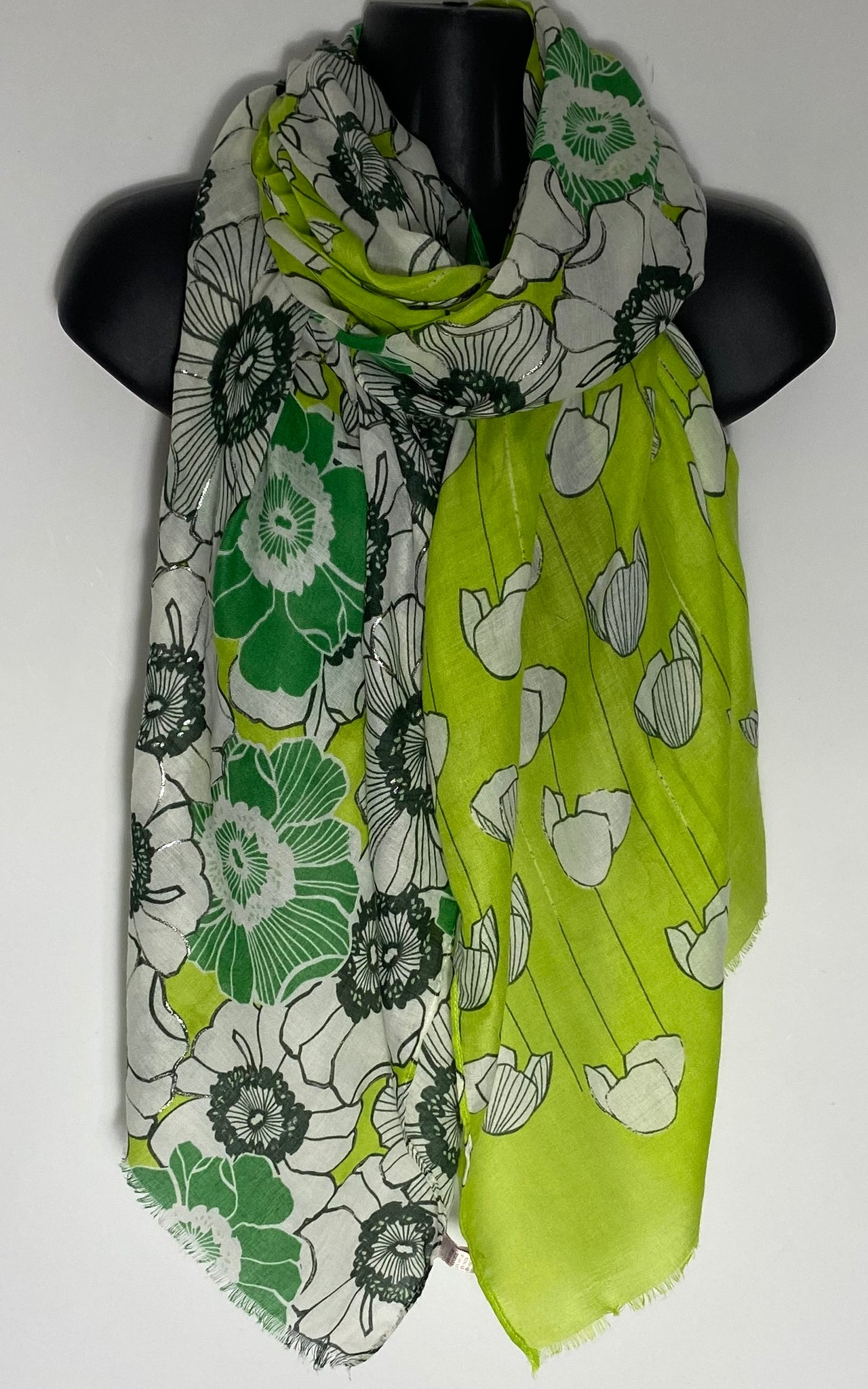 Lime and Green multi print scarf