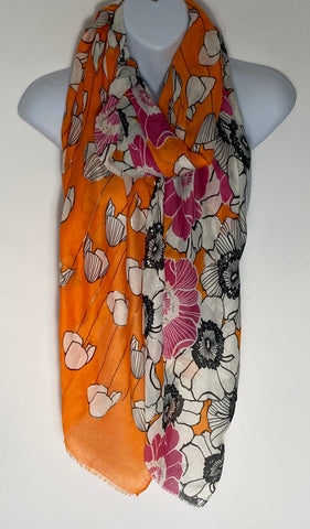Orange and Pink multi print scarf