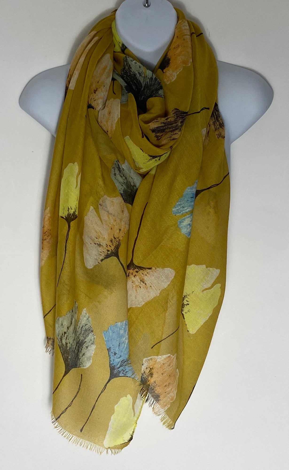 Mustard multi floral scarf