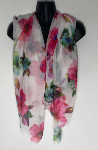 White Pink multi floral scarf