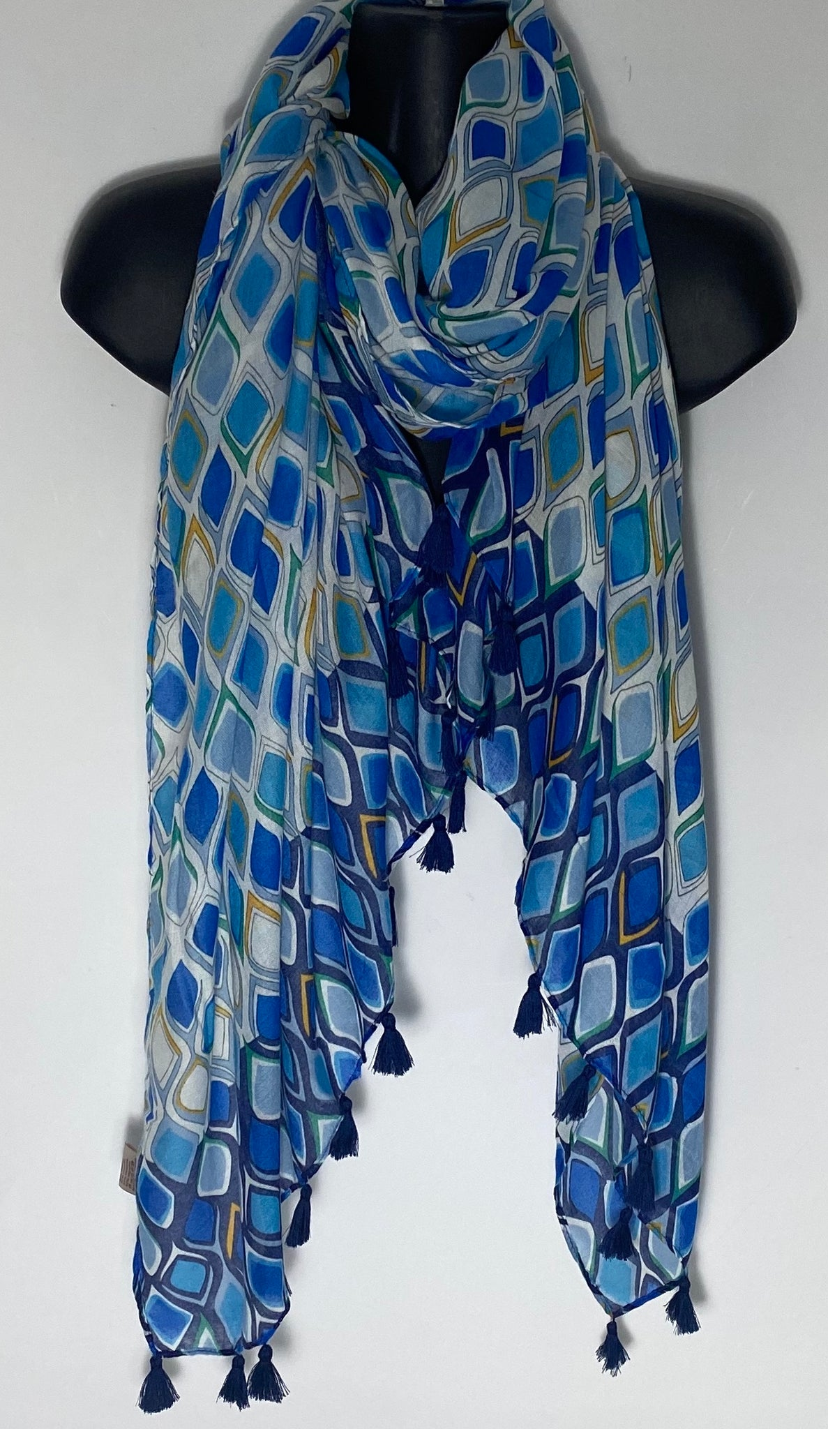Shades of Blue harlequin print tassle scarf