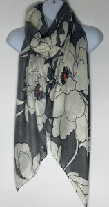 Grey and cream floral print scarf