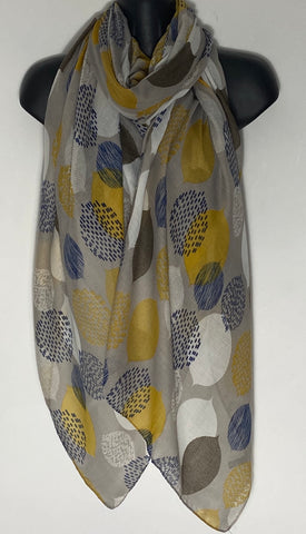 Grey background navy/mustard/cream mix Leaf scarf
