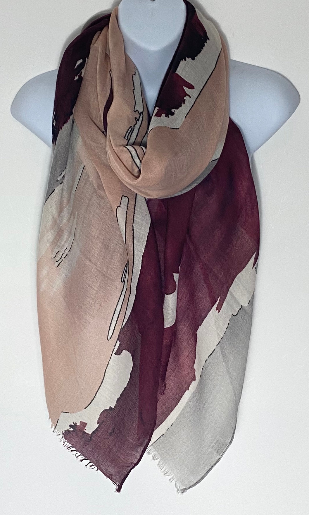 Pastel pink/burgundy and grey Splash print scarf
