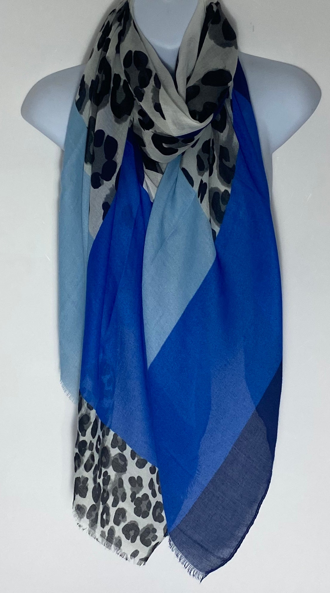 Royal blue mix leopard print scarf