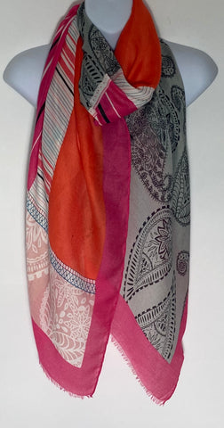 Bright orange and cerise mix paisley print scarf