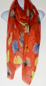 Orange multi floral scarf