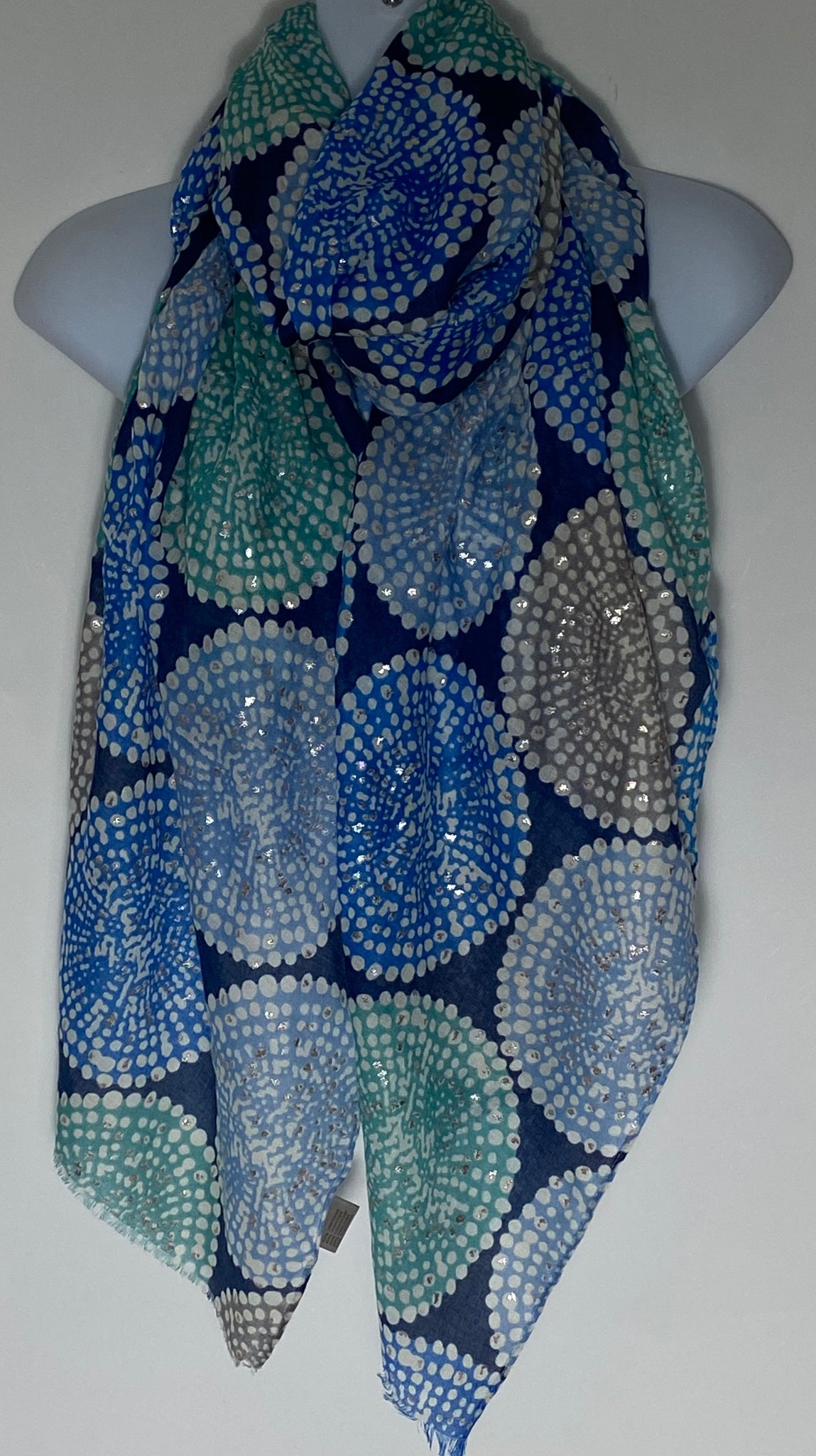 Blue/Aqua shades circles pattern scarf