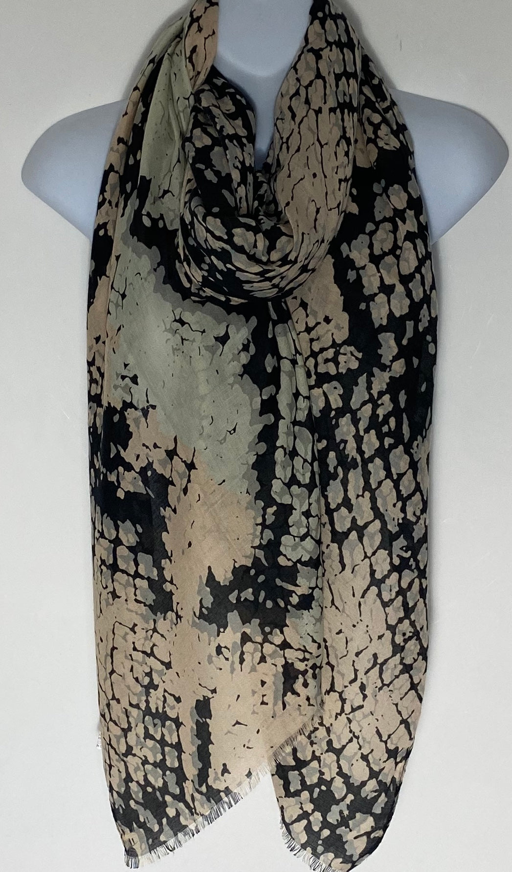 Peach and black mix snake print scarf
