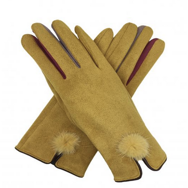 Mustard Gloves with Coloured Fingers