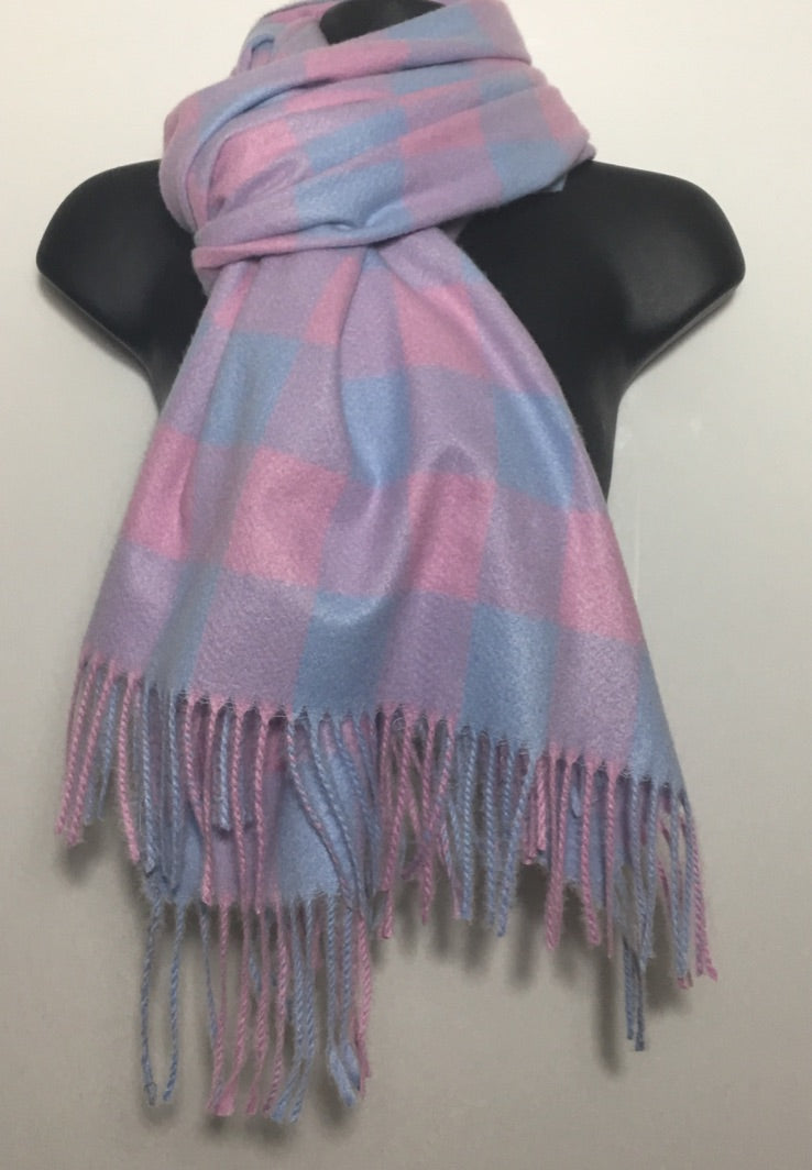 Pink & blue cashmere blend checkered scarf