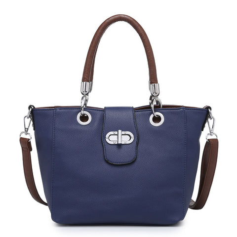 Navy Buckle Handbag