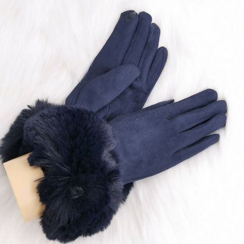 Navy Faux Fur Cuff Gloves