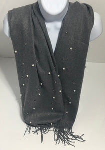 Super soft grey pearl-edge scarf