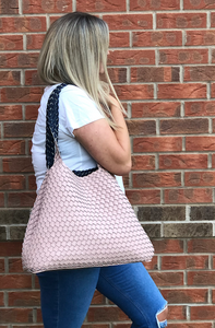 Pink & Navy reversible handbag