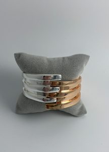 Silver and rose gold cuff bracelet