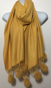 Super soft mustard plain pom pom end scarf