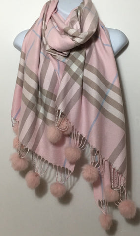 Pink checked cashmere & cotton blend scarf with pom poms