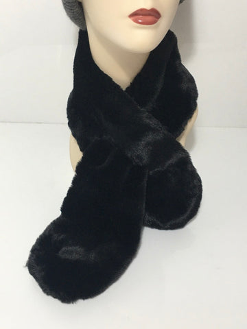 Black Faux Fur Cravat
