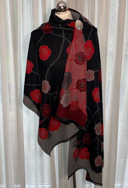 Luxurious, reversible red and black wrap/shawl