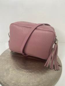 Dusty pink cross-body/shoulder leather handbag