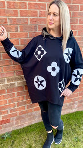 Cotton flower hoodie in black with faux leather-trim hood