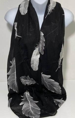 Embroidered feather scarf in black