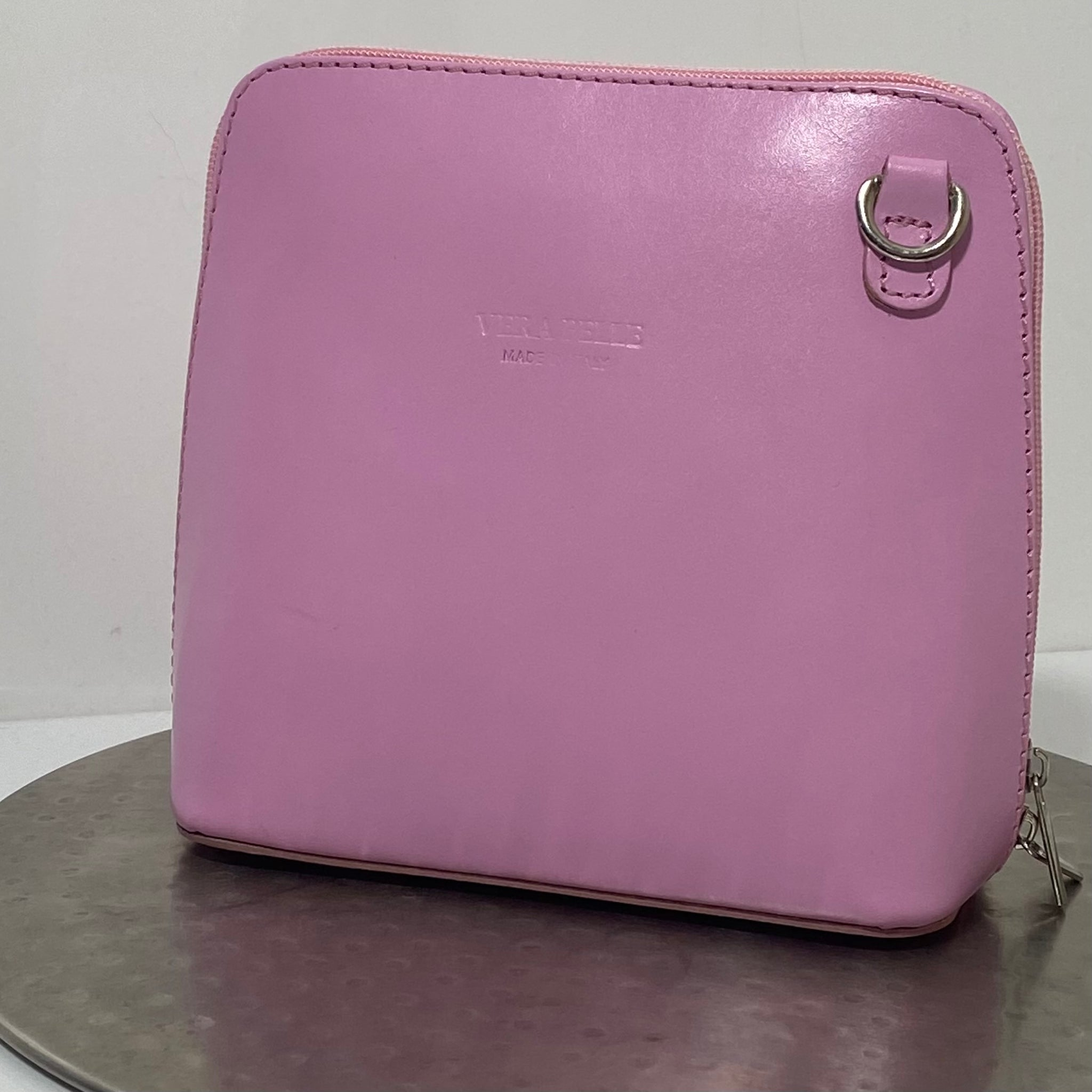Pink cross-body leather bag