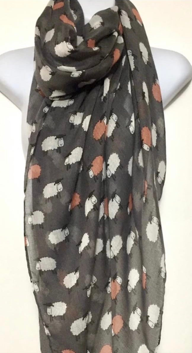 Grey, white and pink sheep print scarf