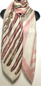 Pink and stone foil pattern print scarf