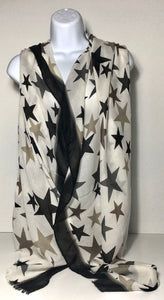 Printed star scarf in shades of stone, black and grey